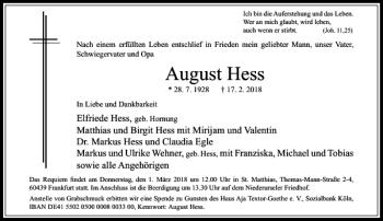 Traueranzeigen Von August Hess Trauer Rheinmain De